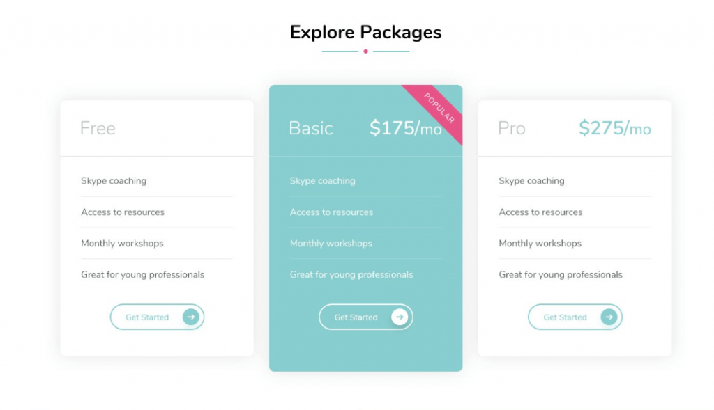 Pricing Table Blossom Coach Pro Documentation