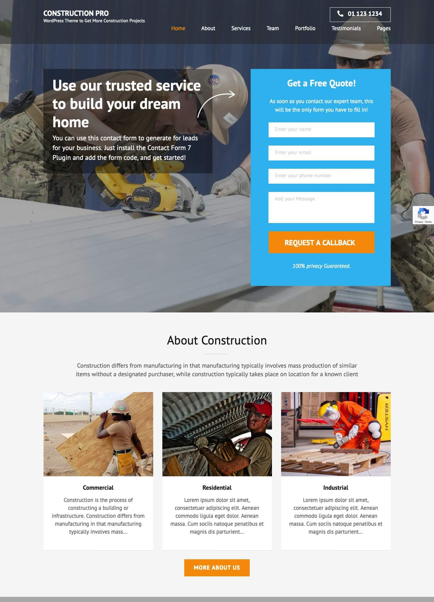 Construction Landing Pro WordPress Theme