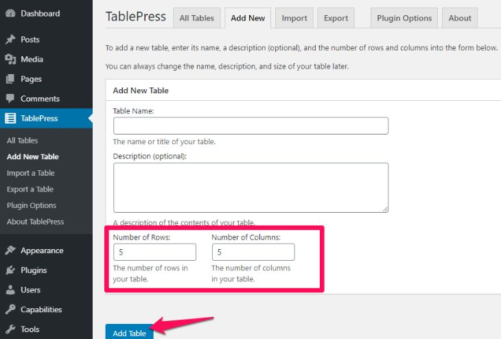Assign number of rows and columns with Tablepress plugin