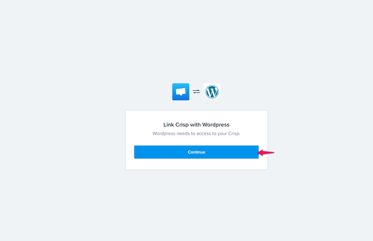 Clicking continue to link Crisp with WordPress