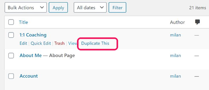 Displaying the Duplicate This button below page title in WordPress