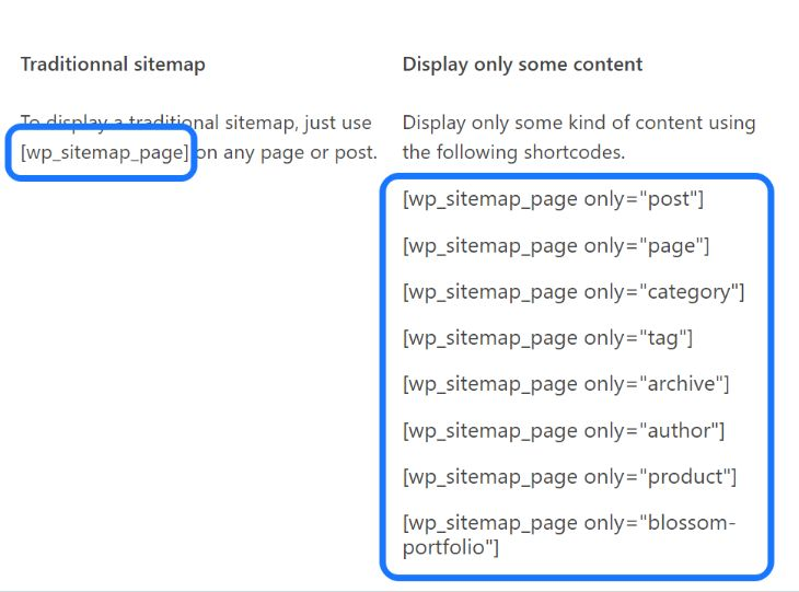 Displaying the shortcodes generated by WP Sitemap Page plugin