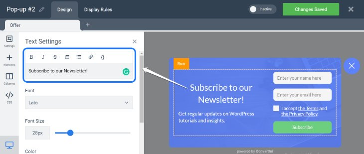 Editing the Subscription Pop-Up Form in Convertful Dashboard