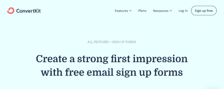 Email Signup Page of ConvertKit Email Marketing Tool's Website