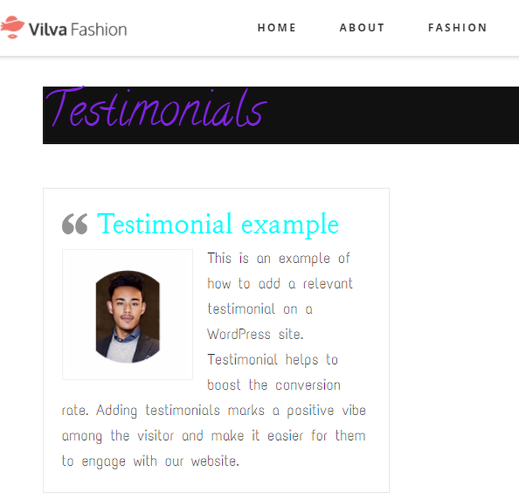 Example of testimonial on a website