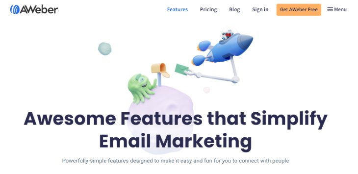 Features Page of AWeber Email Marketing Tool's Website