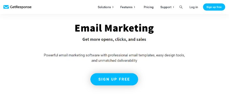 Features Page of GetResponse Email Marketing Tool's Website