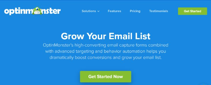 Grow Your Email List page of OptinMonster Marketing Tool
