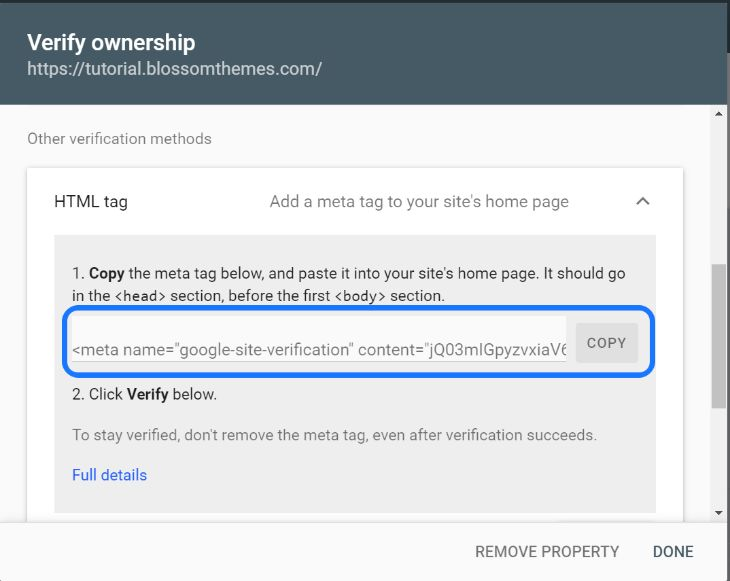 HTML tag of Google Search Console for verifying ownership of website