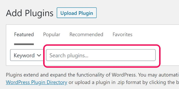 Highlighting the text box to enter Plugin's keyword in WordPress