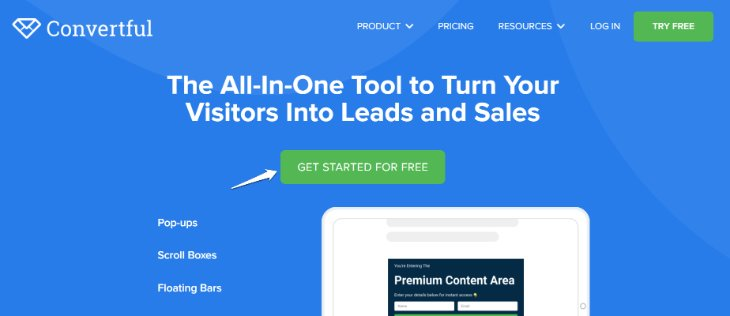 Homepage of Converful online Marketiong Tool