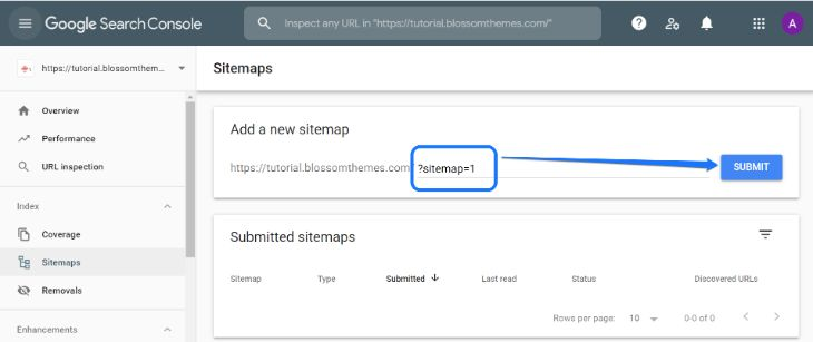 Inserting XML sitemap feed URL in Google Search Console's dashboard