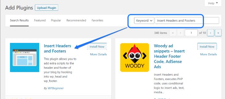 Installing and activating Insert Headers and Footers WordPress plugin