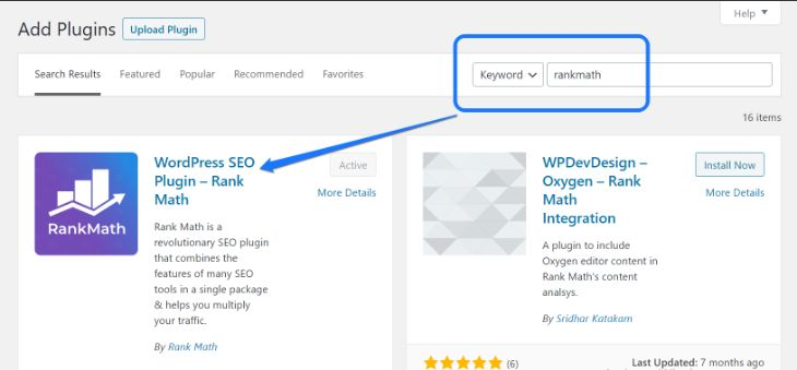 Installing and activating the RankMath WordPress plugin
