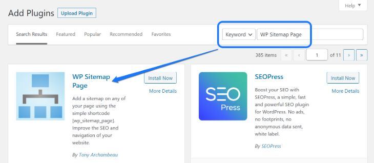 Installing and activating the WP Sitemap Page WordPress plugin