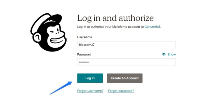 Logging in to MailChimp Account to Connect it With Convertful