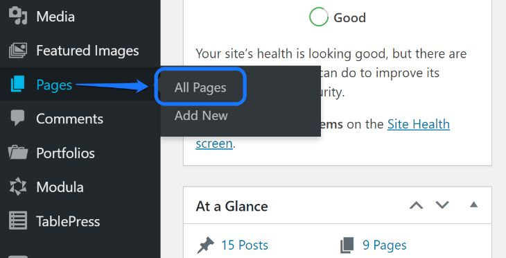 Pointing at the All Pages button inside Pages option in WordPress