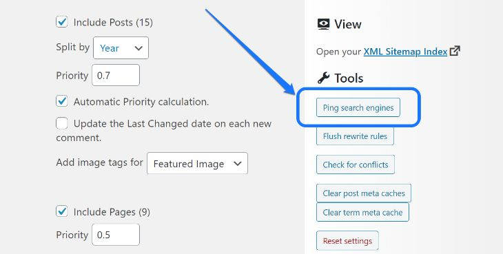 Pointing at the Ping Search Engines button in WordPress