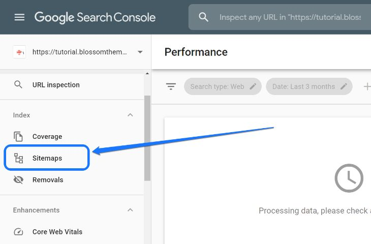 Pointing at the Sitemaps option in sidebar of Google Search Console