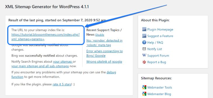 Pointing at the URL to your Sitemap index file in WordPress