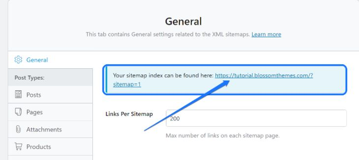 Pointing at the XML Sitemap URL of your website in WordPress