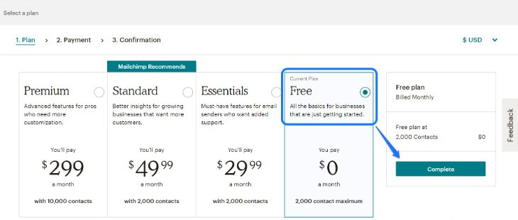 Pricing Plans of MailChimp Email Marketing Tool