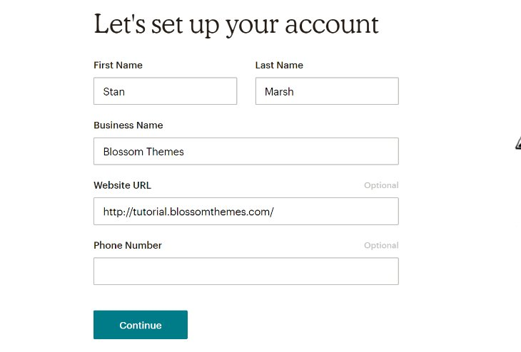 Providing Personal Details to Set up Account in MailChimp