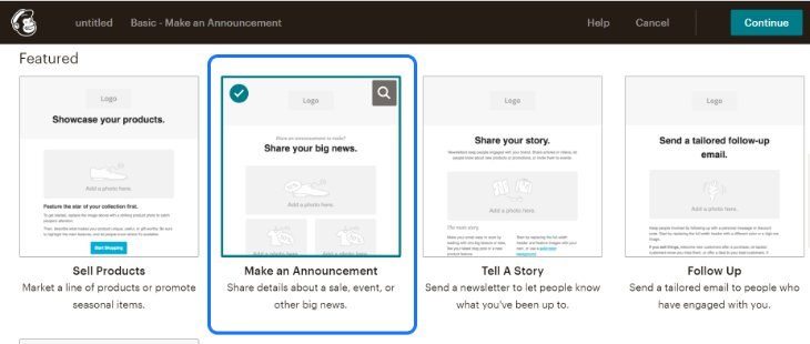 Selecting an Email Template in the Featured List of MailChimp