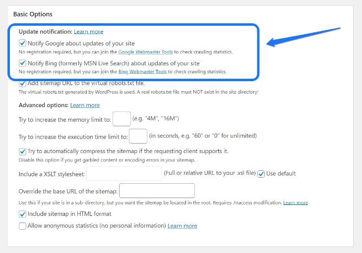 Settings in WordPress to notify Google and Bing about sitemaps