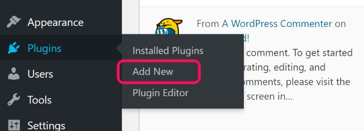 Showing the Add New button inside Plugins option in WordPress