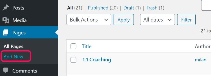 Showing the Add New button inside the Pages option in WordPress