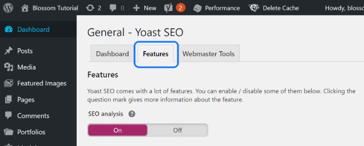 Showing the Features option in the General settings of Yoast SEO