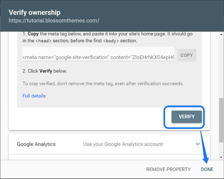 Showing the Verify button in Google Search Console's verification window