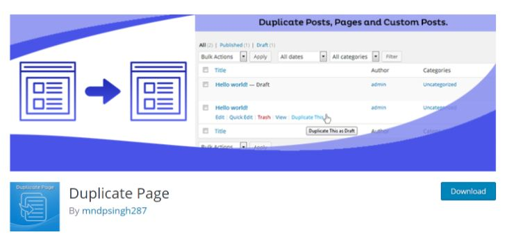 Showing the webpage of Duplicate Page plugin in WordPress.org