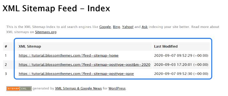 XML Sitemap Feed created by the XML Sitemaps and Google News WordPress plugin
