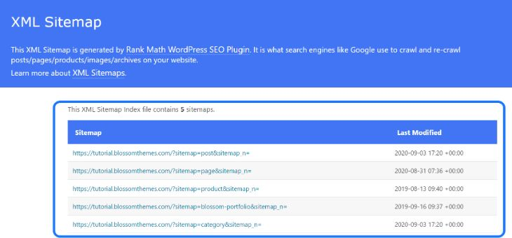 XML Sitemap page generated by the RankMath WordPress plugin