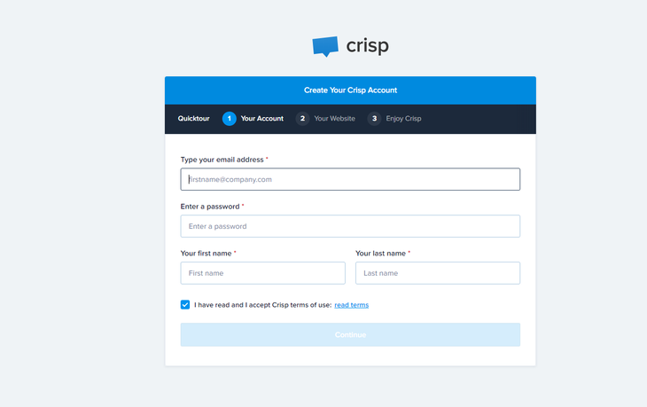Fill up the details and click Continue on Crips