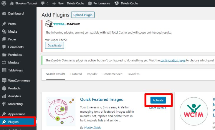install and activate quick featured images
