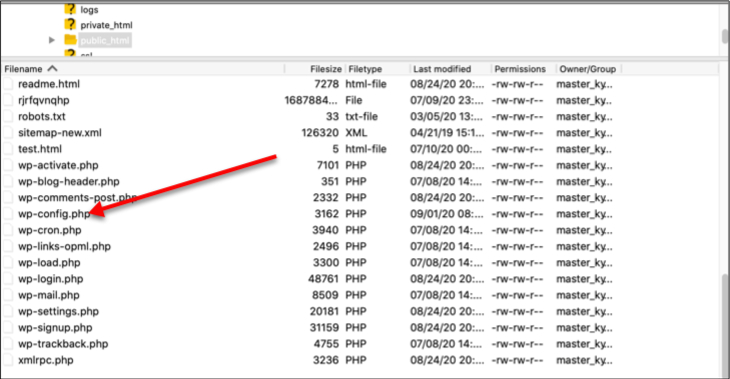 locate the wp-config file