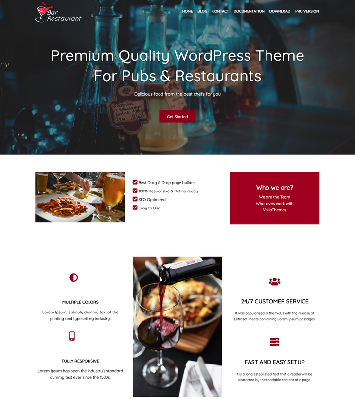 Bar Restaurant Free WordPress Theme
