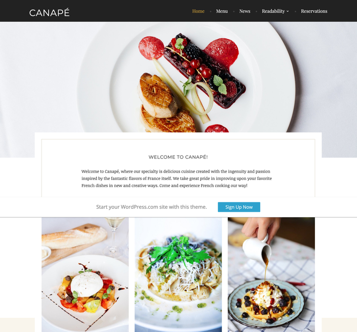 Canape Free WordPress Theme