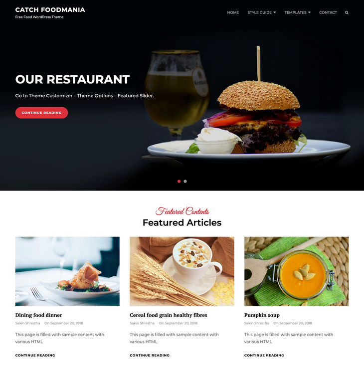 Catch Foodmania Free WordPress Theme