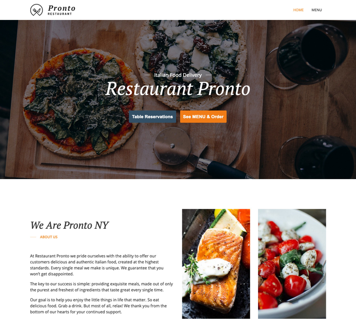 GloriaFood Restaurant Free WordPress Theme
