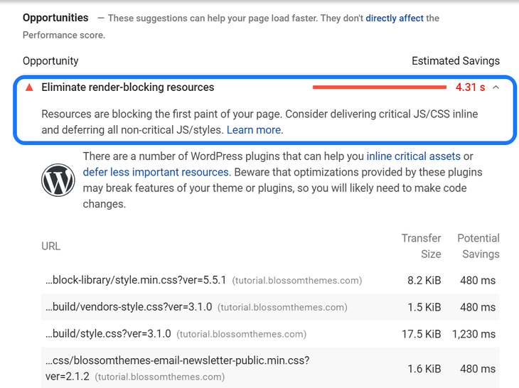 Highlighting the Eliminate Render-Blocking Resources warning presented by Google PageSpeed