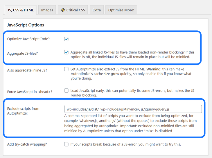 Highlighting two sections in the Settings page of Autoptimize WordPress plugin