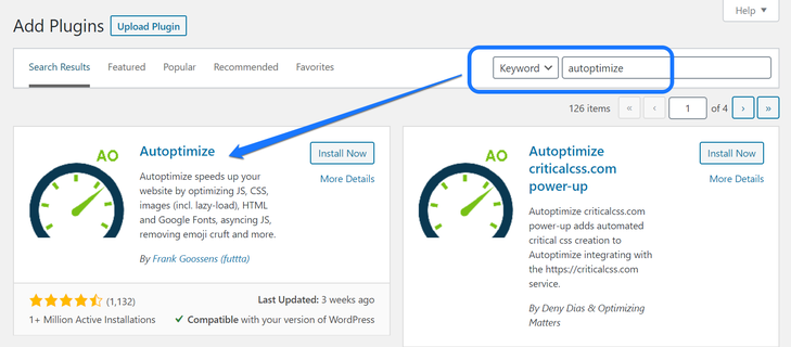 Installing and activating the Autoptimize WordPress plugin