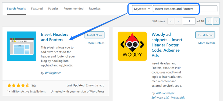Installing and activating the Insert Headers and Footers WordPress plugins