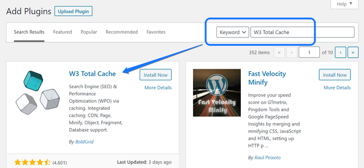 Installing and activating the W3 Total Cache WordPress plugin