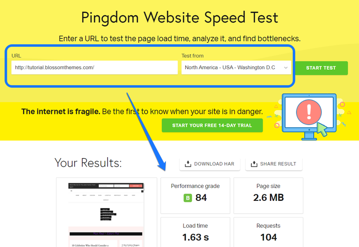 Pointing at the Performance Grade of a website generated by Pingdom Website Speed Test tool