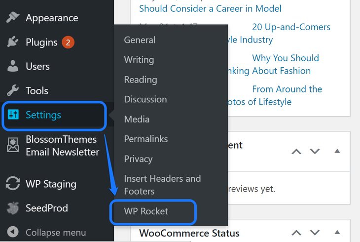Pointing at the WP Rocket button inside the drop-down menu of Settings option in WordPress sidebar